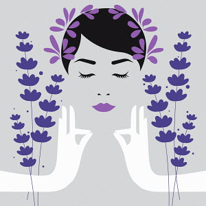 Woman meditating with lavender aromatherapy