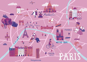 Illustrated map of Paris, France