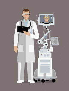 Doctor using digital technology to communicate with colleague