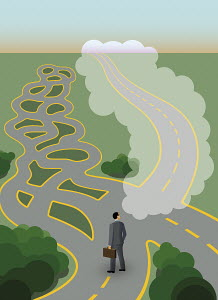 Businessman at crossroads with complex maze but dreaming of straight path