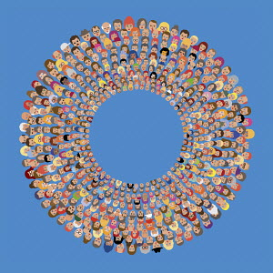 Lots of people's faces in concentric circles