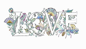 The word 'love' decorated with flowers