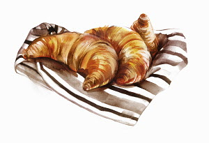 Croissants on striped napkin