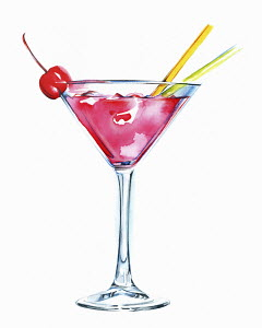 Pink cocktail in martini glass with cherry