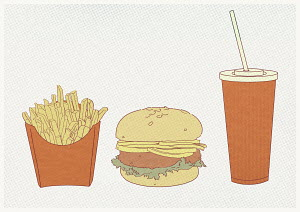 French fries, hamburger and fizzy drink