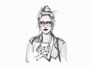 Nervous young woman with take away coffee