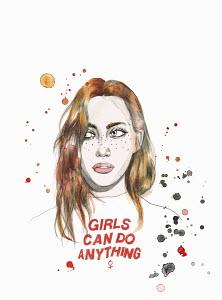 Young woman wearing girl power T-shirt