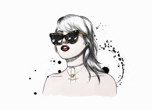 Fashionable young woman with lip and nose piercing wearing sunglasses