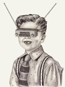 Boy with vintage radio covering his eyes