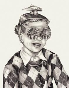 Boy wearing vintage futuristic helmet