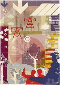Collage of energy industry and environmental technology