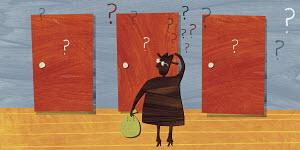 Man with money choosing door