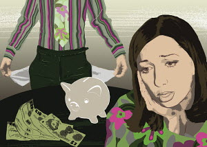 Woman stressed about financial debt