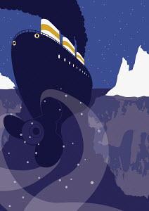Ship heading toward iceberg