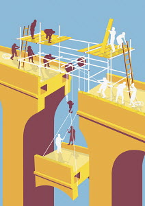 Businesspeople building bridge