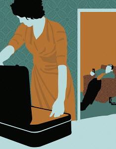 Woman leaving alcoholic husband