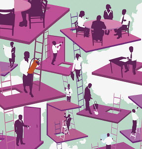Businesspeople working in floating offices