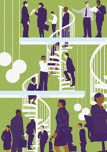 Businesspeople walking up spiral staircase