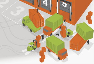 Workers loading trucks with cargo