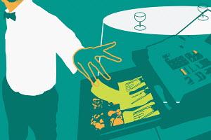 Waiter stealing money from cash register