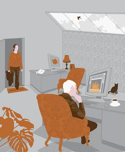 Couple working in home office