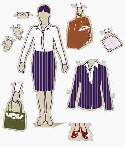 Paper doll businesswoman