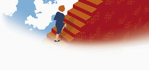 Businesswoman climbing staircase