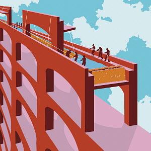 People working on bridge