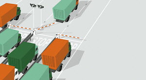 Shipping trucks waiting at gate