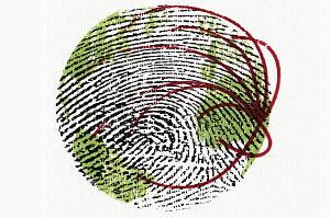 Thumb print with lines