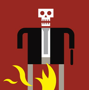 Businessman with skull head standing in flames