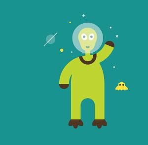 Friendly alien waving his hand