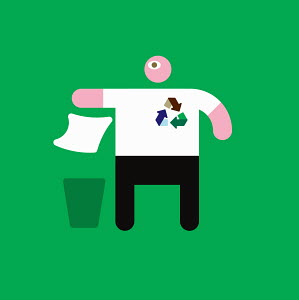 Figure with recycling symbol throwing away paper