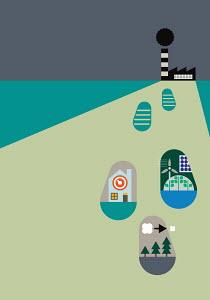 Footprints with green energy symbols leaving factory emitting smoke