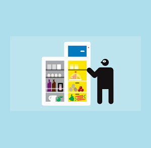 Figure standing at open refrigerator