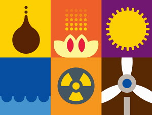 Alternative energy symbols in contrast to conventional energy symbols