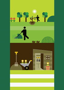 People gardening and farming