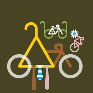 Abstract collage of ties, glasses, flower and bicycles