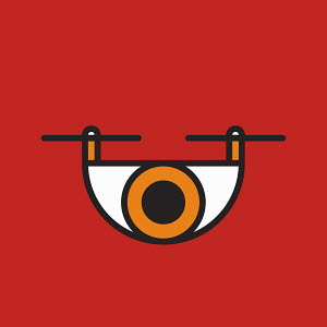 Abstract eye on red background