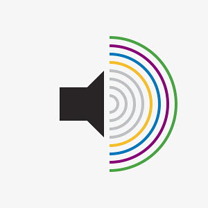 Speaker icon with multicolored sound waves