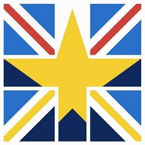 European Union star inside Union Jack flag