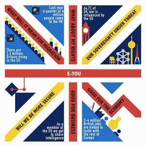 Statistics inside Union Jack flag