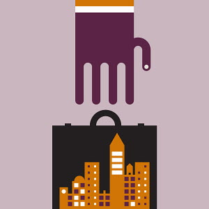 Large hand reaching for briefcase with abstract cityscape inside