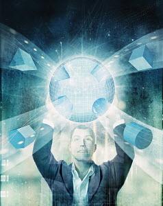 Businessman holding glowing globe