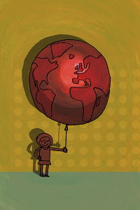 Girl holding balloon decorated as the earth