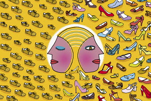 Woman with two faces looking at sensible shoes and glamorous shoes