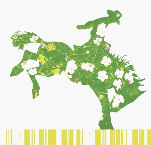 Cowboy riding green, flower-covered bronco