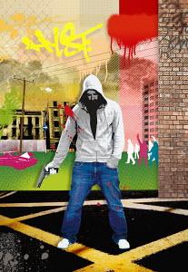 Criminal in urban setting holding handgun