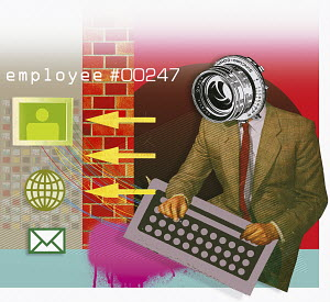 Spying businessman typing on keyboard