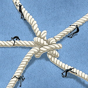 Figures pulling on different ends of a knotted rope